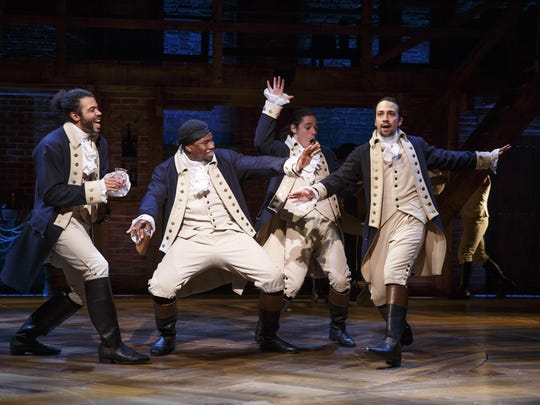 "Daveed Diggs (left) Okieriete Onaodowan, Anthony Ramos and Lin-Manuel Miranda rap and sing their way through ""Hamilton."""