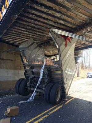 A truck struck a train trestle on Laurel Avenue in Holmdel.