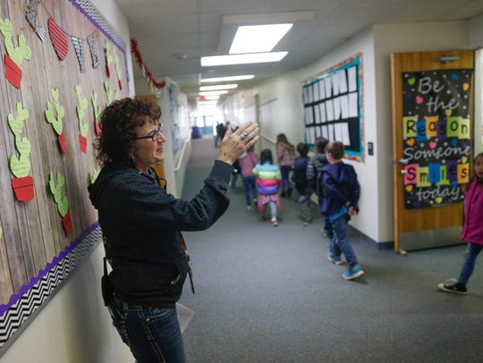 Mesa Verde Elementary School Principal Pamela Schritter talks during an interview on Friday at her school in Farmington.