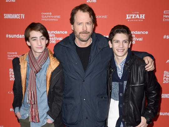"""From left, actors Theo Taplitz, Greg Kinnear, and Michael Barbieri attend the """"Little Men"""" premiere during the 2016 Sundance Film Festival."""