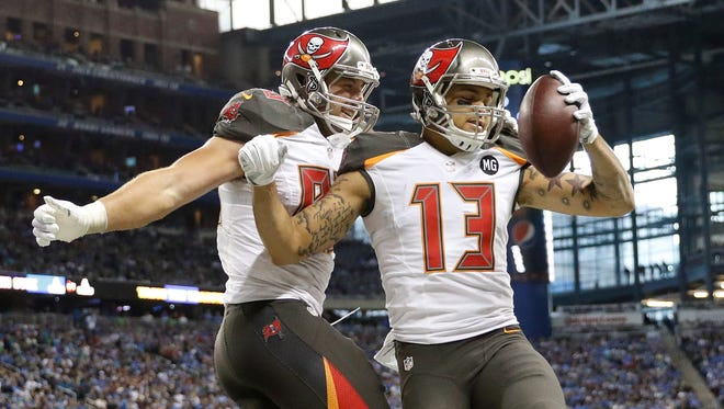 Buccaneers receivers Mike Evans (13) and Vincent Jackson (not pictured) form an impressive duo.