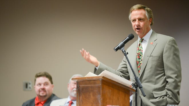 Bill Haslam spoke during the Governor's Luncheon on topics such as education and his second term during the Strawberry Festival in Humboldt.