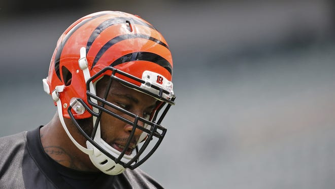 Cincinnati Bengals tackle Devon Still (75) waits to run through a drill during the first day of Bengals minicamp.