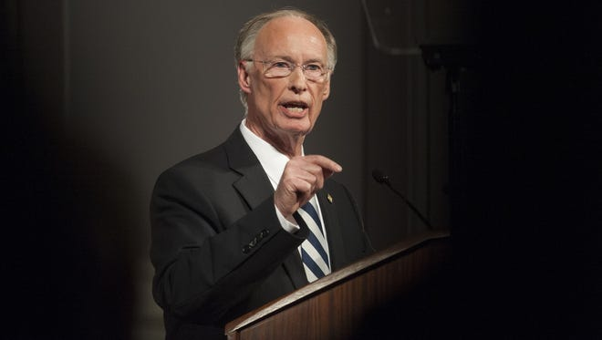 Gov. Robert Bentley gives his State of the State Address at the State Capitol Building in Montgomery, Ala. on Tuesday evening February 2, 2016.
