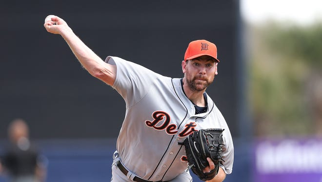 Detroit Tigers starting pitcher Mike Pelfrey warms up prior to the start of the Spring Training game against the New York Yankees at George Steinbrenner Field in Tampa, Florida.