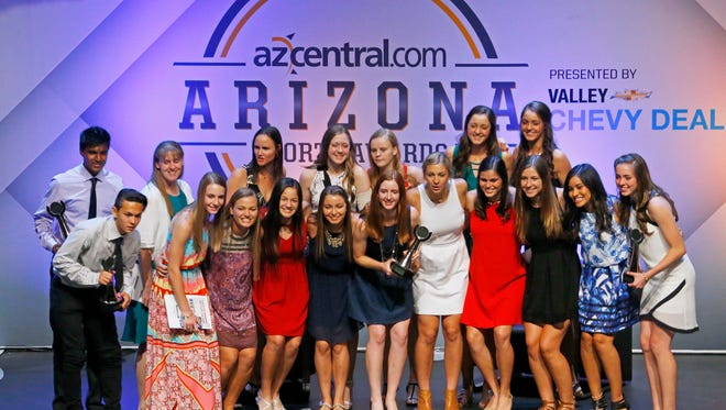 Award winners pose for a group shot during the Arizona Sports Awards at the Orpheum Theatre in Phoenix on June 5, 2016.