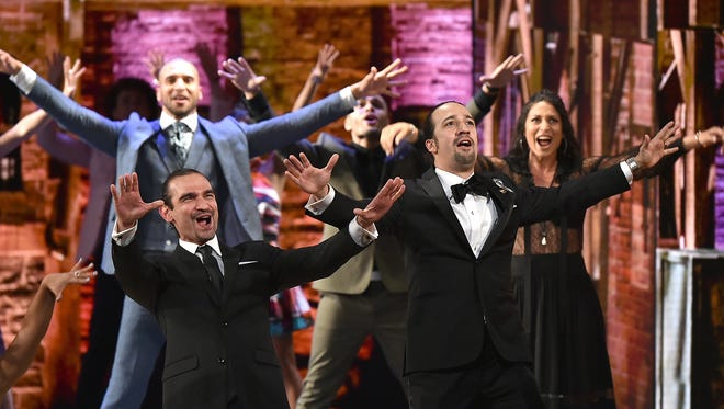 Javier Munoz, pictured with Lin-Manuel Miranda at the Tony Awards, will take over the title role in the Broadway smash, 'Hamilton.'