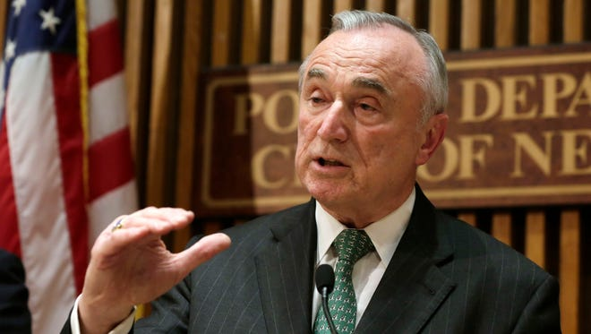 In this 2105 file photo, New York City Police Commissioner William Bratton speaks during a news conference at police headquarters in New York.