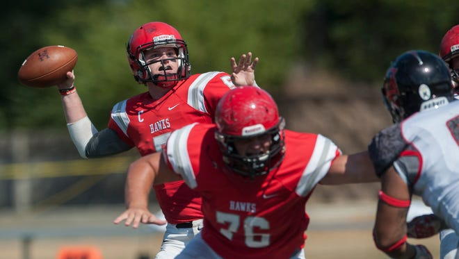 Huntingdon quarterback Luke Bailey (5) throws against LaGrange at the Huntingdon campus on Saturday, October 15, 2019.