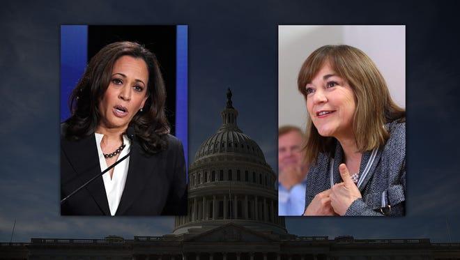 Kamala Harris, left, and Loretta Sanchez are facing off for a U.S. Senate seat on the November ballot.