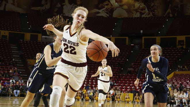 Arizona State University Quinn Dornstauder, #22, battles for the ball during a women's basketball game against Oral Roberts at Wells Fargo Arena in Tempe on December 17, 2016.