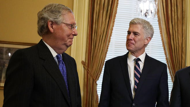Senate Majority Leader Mitch McConnell meets with Supreme Court nominee Neil Gorsuch on Feb. 1, 2017, at the Capitol.