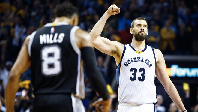 Grizzlies center Marc Gasol celebrates during action against the San Antonio Spurs in Game 4 on Saturday.