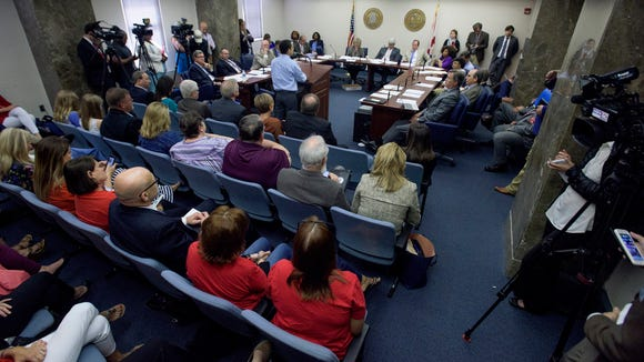 Standing room only during committee discussion on the autism insurance bill at the Alabama Statehouse in Montgomery, Ala., on Thursday May 4, 2017.