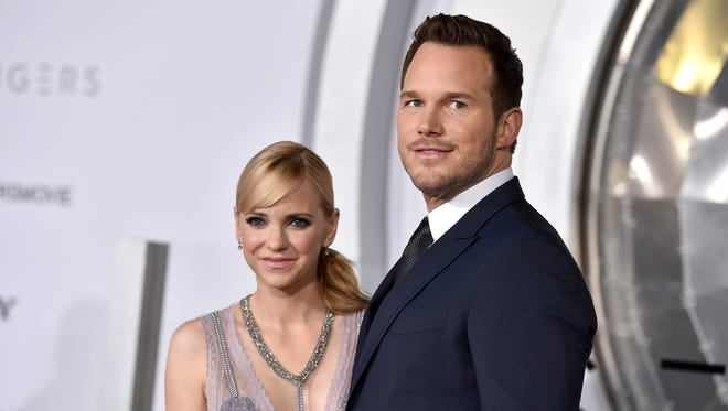 "In this Dec. 14, 2016, photo, Chris Pratt, right, and Anna Faris arrive at the Los Angeles premiere of ""Passengers""at the Village Theatre Westwood. Pratt and Faris have announced they are separating after eight years of marriage."