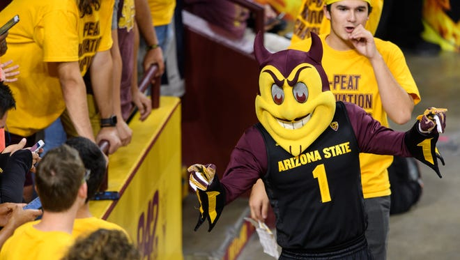 Sparky interacts with fans.