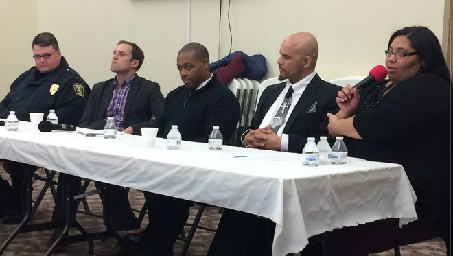 The Women in the NAACP convened a panel for Martin Luther King Jr. Day Monday to discuss the outlook for the present generation. From right to left, Rachelle Gray, director of Another Chance Ministry; Jemar Harris, director of Men and Women of Purpose; Richard Crosby, Cincinnati attorney a second congressional district candidate; Chillicothe Mayor Luke Feeney; Chillicothe Police Chief Keith Washburn.