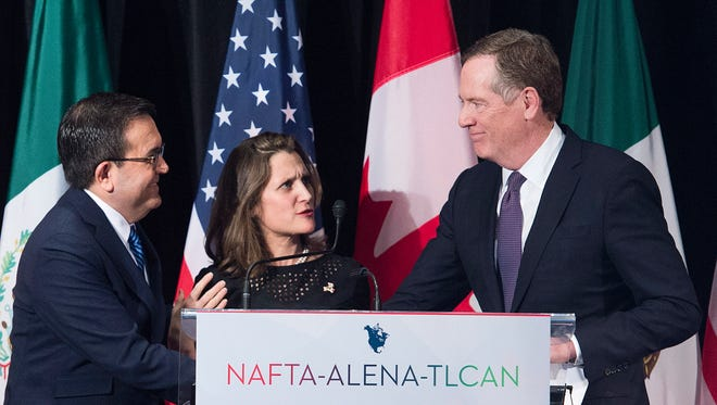 From left: Mexico's Secretary of Economy Ildefonso Guajardo Villarreal, Canadian Foreign Affairs Minister Chrystia Freeland and  United States Trade Representative Robert Lighthizer speak after delivering statements to the media during the sixth round of negotiations for a new North American Free Trade Agreement in Montreal on Jan. 29.