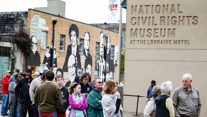 A crowd gathers outside the National Civil Rights Museum during MLK50 week in Memphis in 2018.