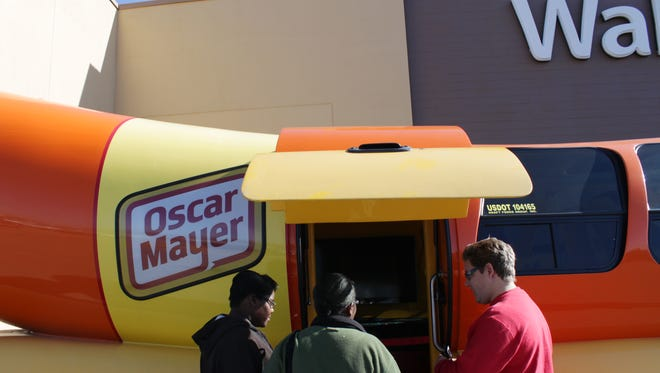 The Oscar Mayer Wienermobile made a pit stop at the Humboldt Walmart on Friday afternoon. Kids and adults were able to look inside the giant hot dog with its mustard and ketchup styled seats and sky-blue ceiling.