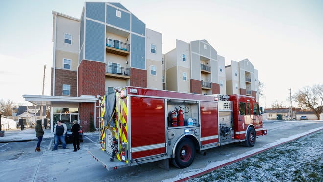 The Springfield Fire Department responded to the Bear Village Apartments after a fire alarm sounded. A sprinkler line broke in a fourth floor apartment due to freezing temperatures setting off the alarm.
