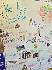 Students in Kathleen Feairheller's kindergarten class at Scotland Elementarty School created craftwork for Thanksgiving on Thursday, November 16, 2017.