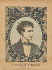 """Franklin H. Brown's """"State Sovereignty, National Union: Abraham Lincoln,"""" from a photograph by Hesler, engraving, 1860, is believed to be the oldest surviving piece of campaign literature from Lincoln's May 1860 campaign for the Republican nomination for president."""