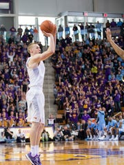Paul Jesperson hits a 3-pointer during Northern Iowa's upset win over No. 1 North Carolina earlier this year.