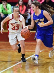 Mara Broadwater (23) is the only freshman on the six-girl Forbes Road basketball team.