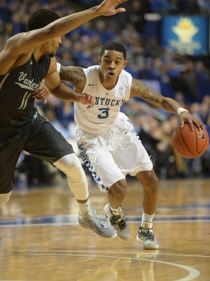 UK's Tyler Ulis drives with the ball during the University of Kentucky basketball game against Vanderbilt at Rupp Arena in Lexington, Ky., on Saturday, January 23, 2016.