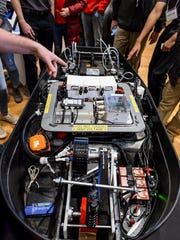 The UW-Madison Badgerloop team shows the inner workings