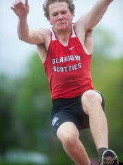 Glasgow's Brett Glaser competes in the boys' long jump