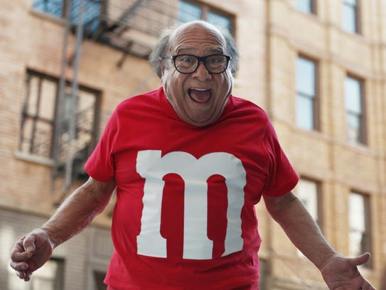 A scene from M&Ms' Super Bowl spot, featuring actor Danny DeVito. For the 2018 Super Bowl, marketers are paying more than $5 million per 30-second spot to capture the attention of more than 110 million viewers. (Courtesy of M&Ms via AP)