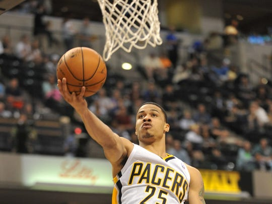 Gerald Green, scoring against Cleveland in 2013, earned his way back into the NBA after two seasons in Russia but was a disappointment for the Pacers.