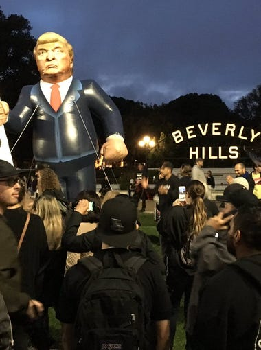 The anti-Trump protest in Bevery Hills.