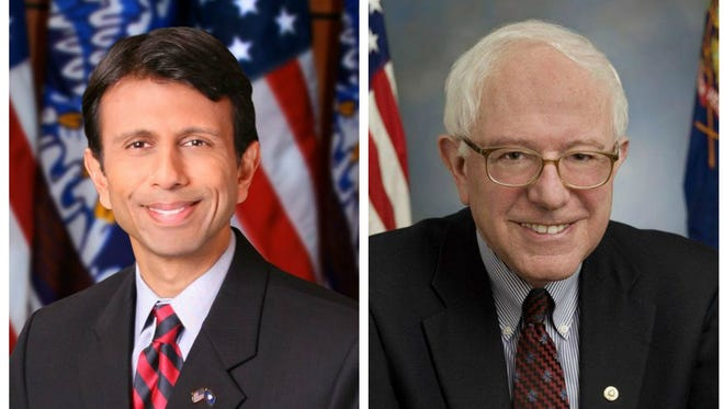 Bobby Jindal (left) and Bernie Sanders (right) represent the youngest and the oldest contenders in the 2016. Jindal would be 45 while Sanders would be 75.