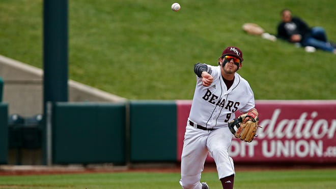 Jake Burger leads the Missouri Valley Conference in all three Triple Crown offensive categories, and was named the league's Defensive Player of the Year on Tuesday.