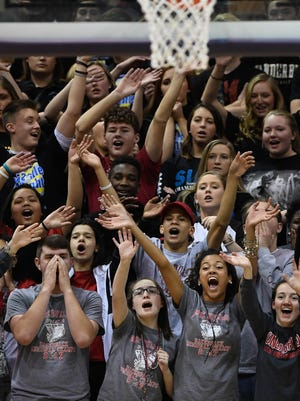 The Bosse student section cheers as Evansville Bosse plays Crispus Attucks in the Boys' Semi-State Basketball Tourney at Seymour High School Saturday, March 18, 2017.