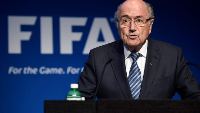 Sepp Blatter speaks during a press conference at the FIFA headquarters where he announced his intention to resign.