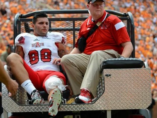 Sep 6, 2014; Knoxville, TN, USA; Arkansas State Red Wolves defensive lineman Jonah Hill (88) after an injury during the second quarter against the Tennessee Volunteers at Neyland Stadium.