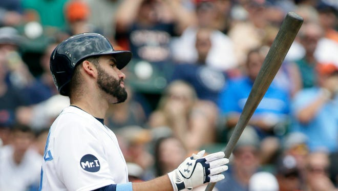 Tigers rightfielder J.D. Martinez reacts after striking out during the first inning of the Tigers' 9-1 loss to the Rays Sunday at Comerica Park.