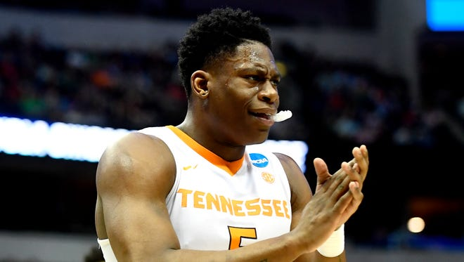 Tennessee forward Admiral Schofield (5) during the NCAA Tournament second round game between Tennessee and Loyola-Chicago at American Airlines Center in Dallas, Texas, on Saturday, March 17, 2018.