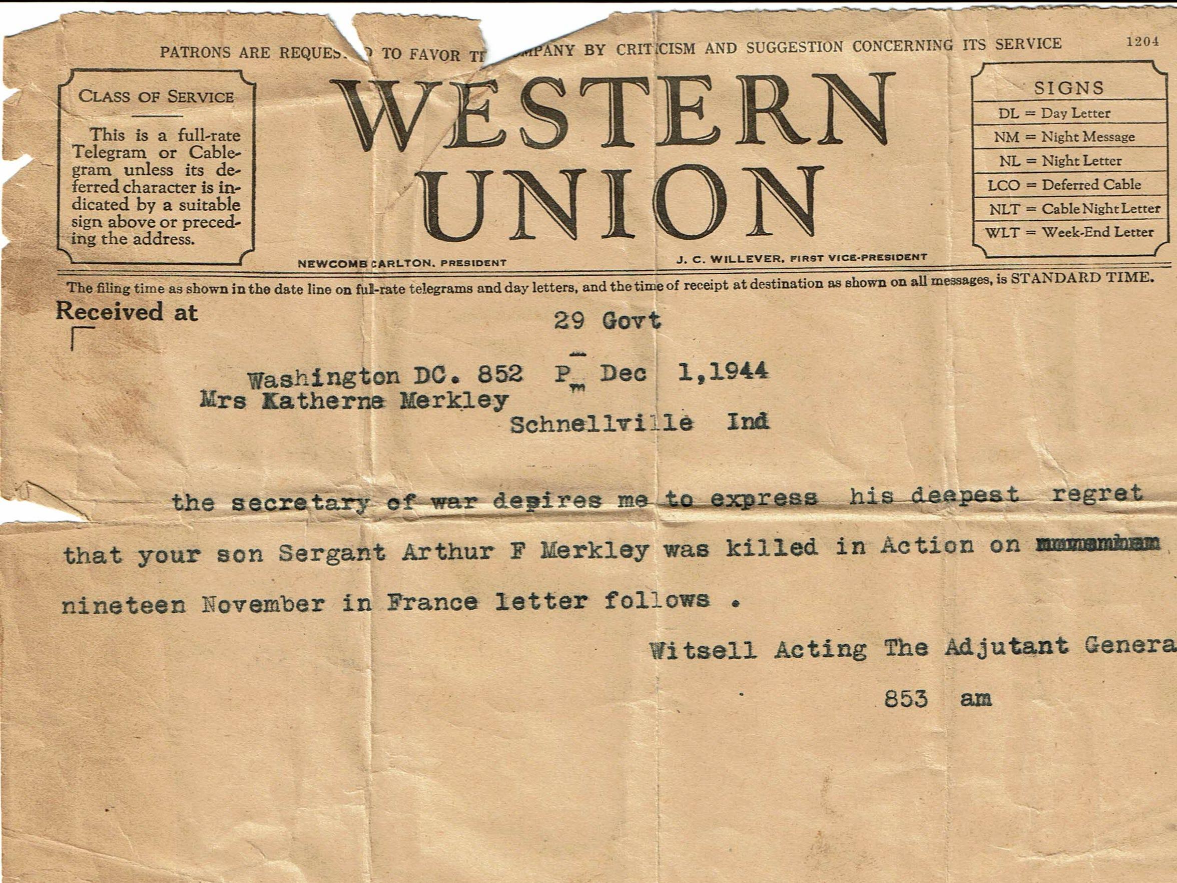 The telegram notifying the Merkley family that their
