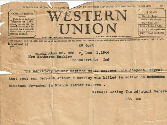 The telegram notifying the Merkley family that their son was dead.