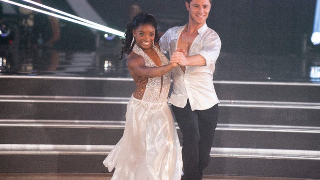 Simone Biles and Sasha Farber compete on the opening night of 'Dancing.'