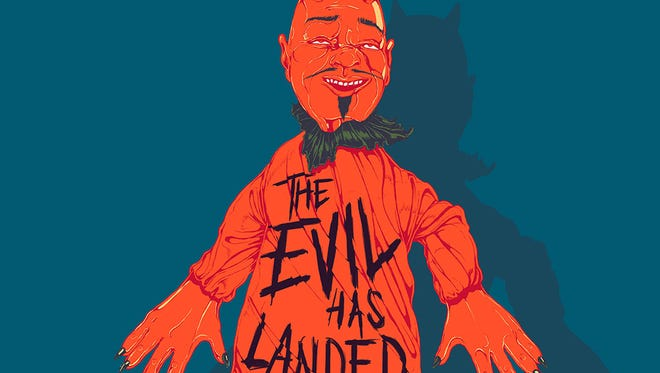 """Queens of the Stone Age cover art for """"The Evil Has Landed."""""""