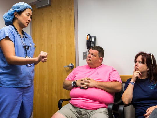 Dr. Ines Lin explains the surgical procedure performed on Emily Ruckle to her parents, Todd and Maria, in a meeting room at the Children's Hospital of Philadelphia on Friday morning, August 19, 2016.