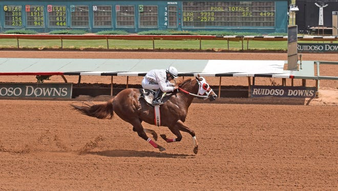 Jess Cruzin On By qualified first for the Zia Derby on Saturday at Ruidoso Downs Race Track and Casino. Ivan Carnero was the winning jockey and Ronald Stephens was the winning trainer.