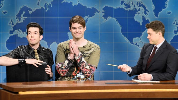 Bill Hader (center) returns to reprise his Weekend