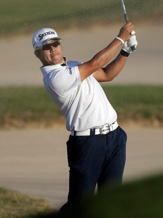 Hideki Matsuyama, of Japan, plays a shot from a bunker on the 15th hole during round-robin play at the Dell Technologies Match Play golf tournament, Thursday, March 22, 2018, in Austin, Texas. (AP Photo/Eric Gay)